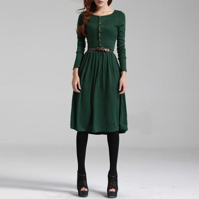 e976efa900f 2018 Hot Sale Black Green Women Long Sleeve Knitted Button Dress Autumn  Winter Dress Ladies O Neck Casual Party Dress With Belt D1891304 Dresses  Evening ...