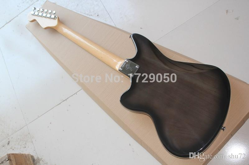 High quality New Arrival jazz master Natural wood transparent black Electric Guitar