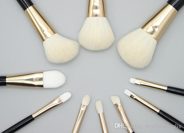 1 компл. 11 шт. / лот новый золотой черный полный макияж кисти наборы профессиональный роскошный набор макияж инструменты комплект порошок смешивания кисти