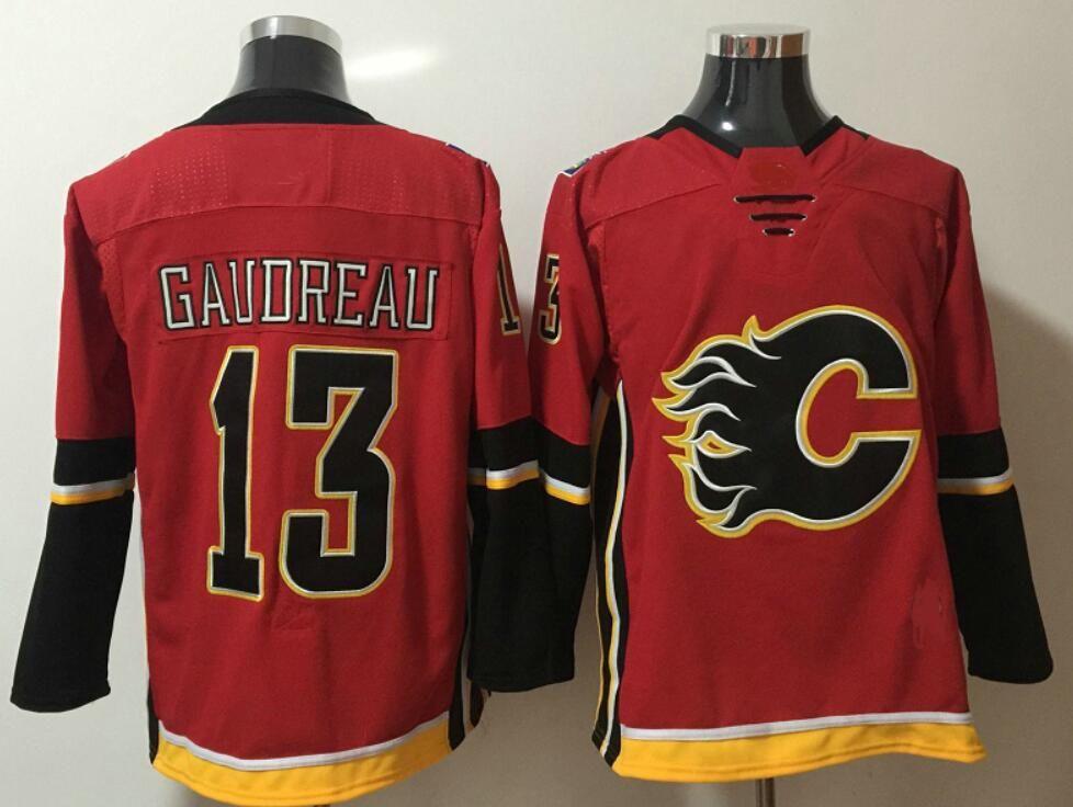 Mens Ice Hockey Shirts Calgary Flames #13 Johnny Gaudreau 23 Sean Monahan 68 Jaromir Jagr Team Sports Jerseys Uniforms Stitched Embroidery
