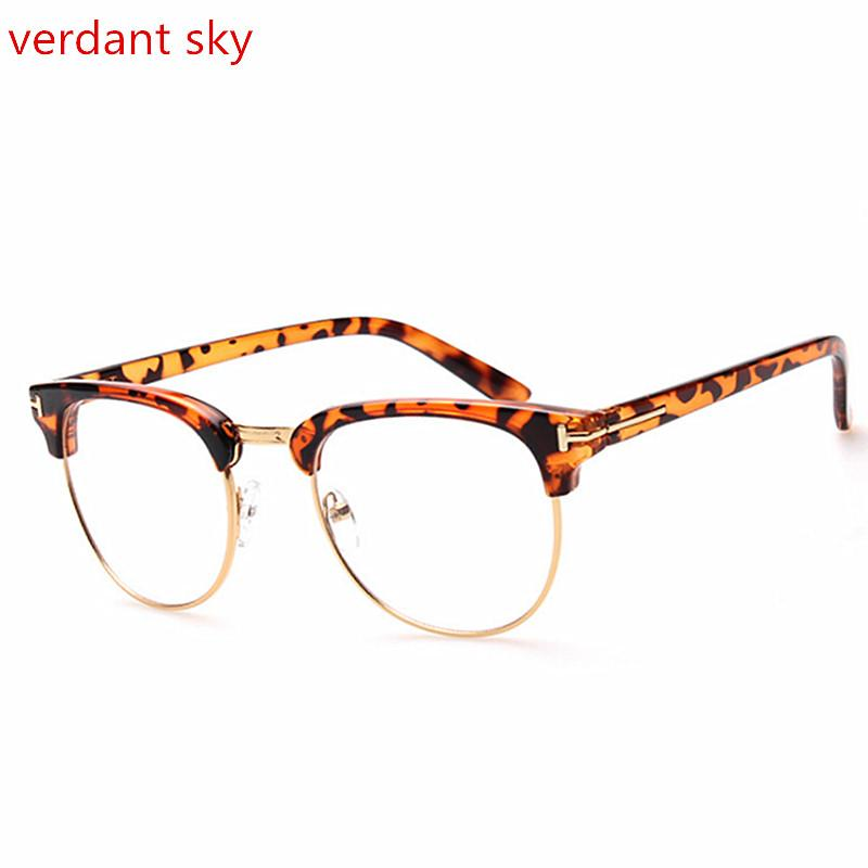 56ab36bad8 2019 2017 Newest Brown Cat Eye Glasses Frames For Women Black Leopard Beige Semi  Rimless Half Rim Eyeglasses Frame Men And Women From Lbdwatches