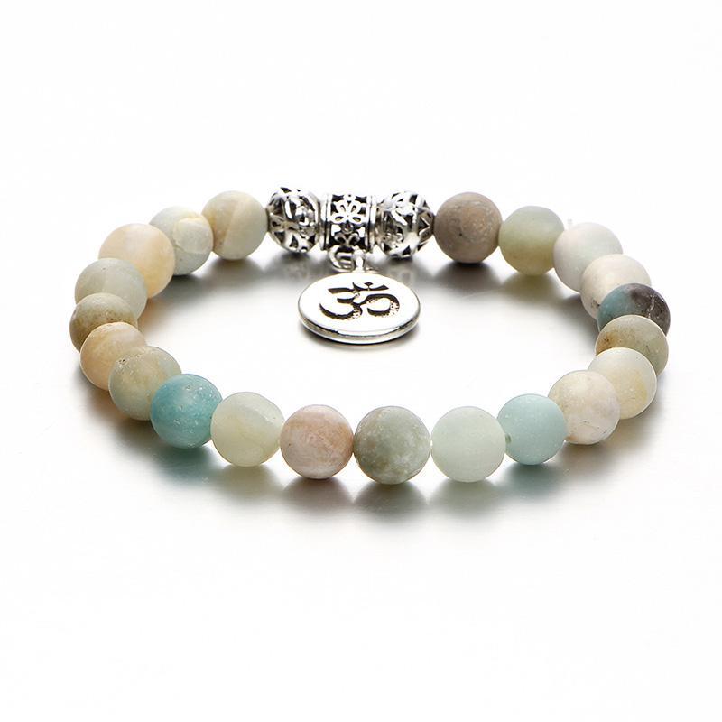 Moda Natural Stone Bead Bracelet Charm Yoga Meditazione OM Strand Catena Vintage Argento Buddha Braclet Unisex gioielli etnici