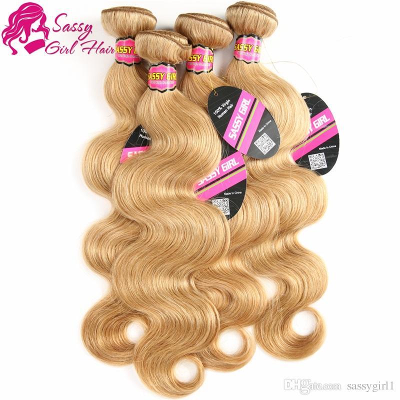 Brazilian Virgin Hair Body Waves 3 Bundles 27 Honey Blonde Brazilian Hair Weave Remy Human Hair Extensions SASSY GIRL