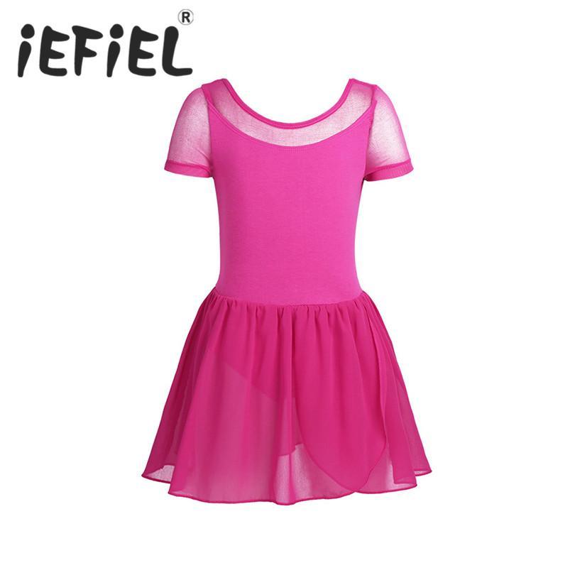 aaaf4e030594 IEFiEL Kids Girls Child Mesh Short Sleeve Ballet Dance Gymnastics ...