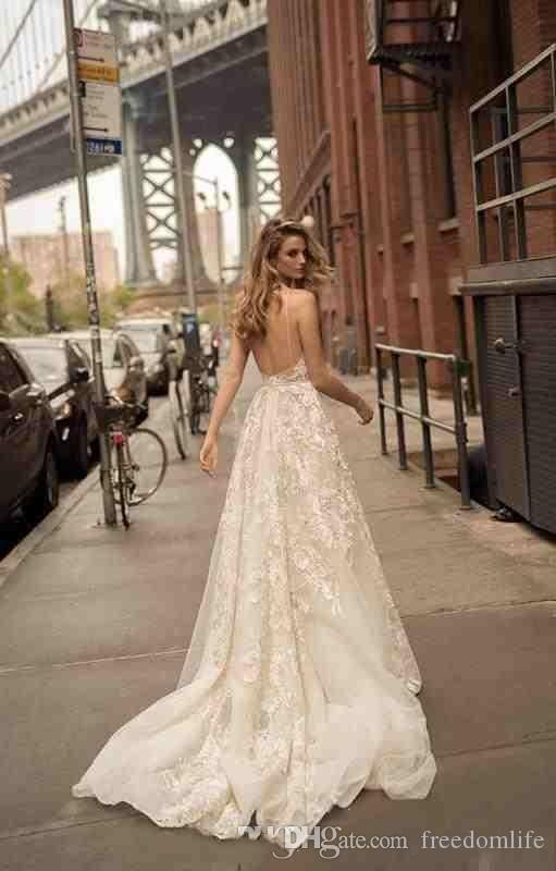 2018 Summer Berta Bridal Gowns Sexy V Neck Boho Beach Lace Wedding Dresses Backless A Line Floral Long Spaghetti Straps