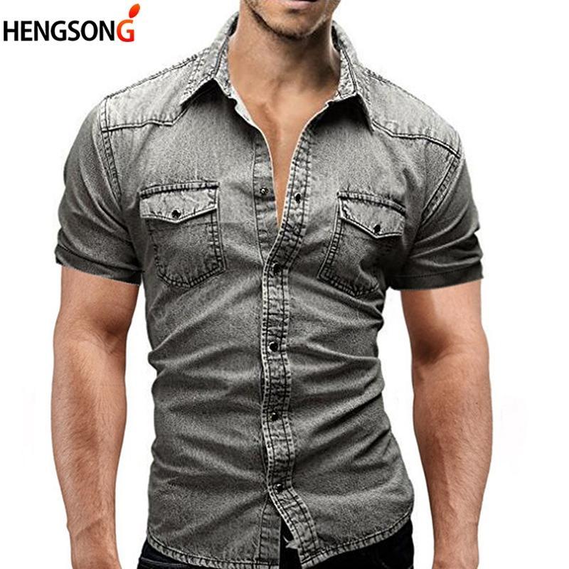the best attitude 8716a b61df Camicia di jeans 2018 nuove maniche corte uomo Camisa sociale masculina  Slim Fit t-shirt moda casual camicie uomo solido