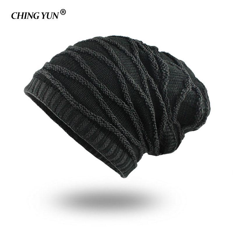d80644c5 CHINGYUN Men Hats Street Fashion Knitted Wool Cap Thick Villus Winter Warm  Outdoor Monochrome Man Hat Cashmere interior lattice