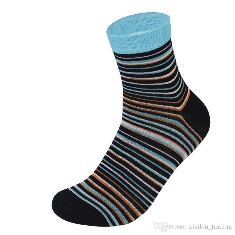 2018 Erkek Spor Pamuk Çorap Renkli Erkekler Çorap Moda Iş Tarzı Pinstripe Çorap Rahat Nefes Renkli Antibakteriyel