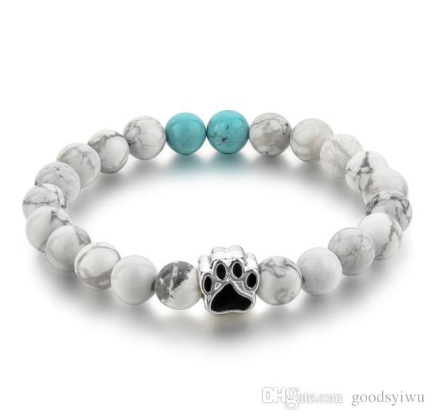 12 stili di pietra naturale braccialetto di yoga cuore cane zampa a mano corda elastica occhio di tigre turchese braccialetto di perline moda uomo donna gioielli