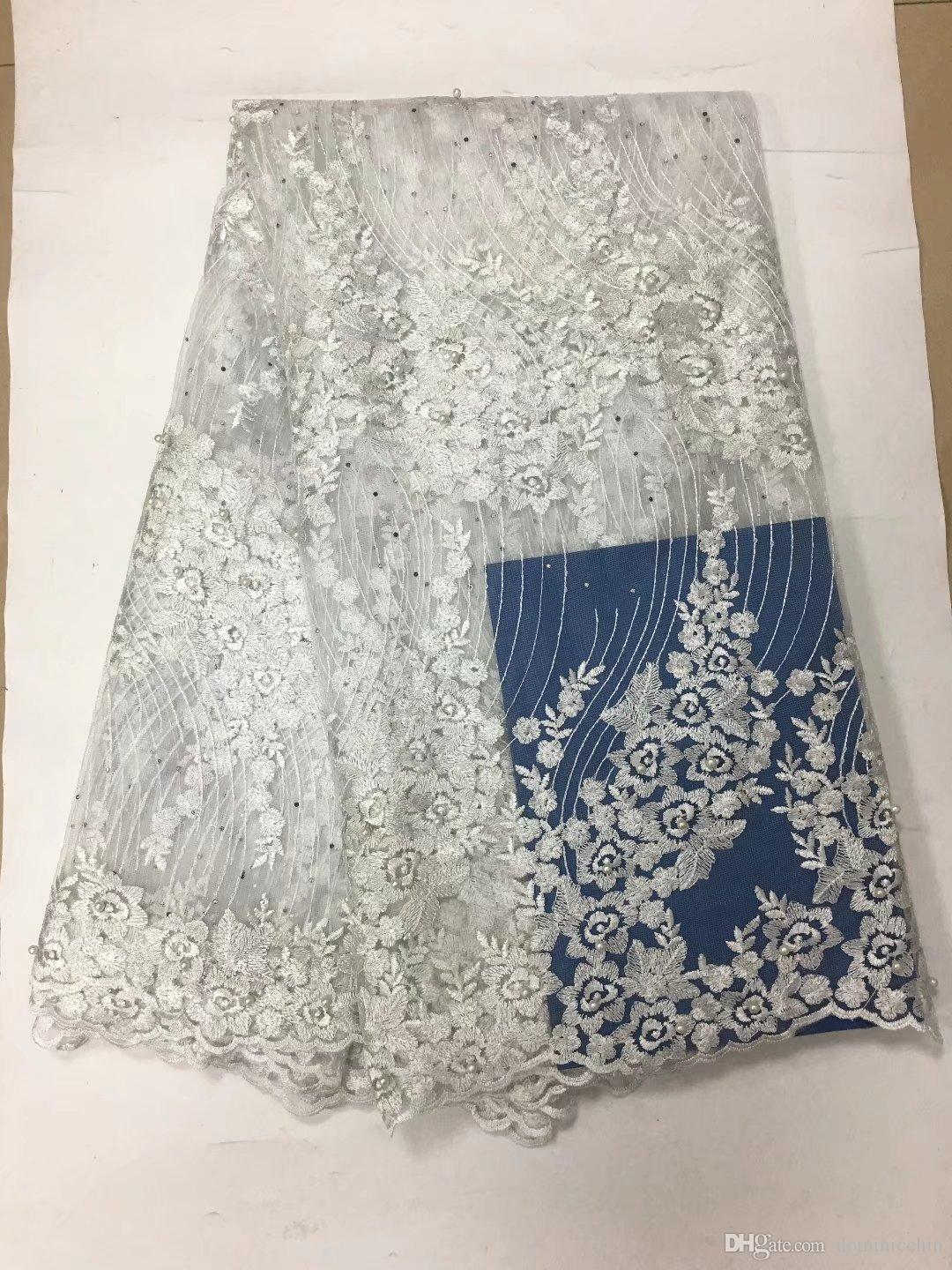 FCT1012 5yards/pc fancy embroidered African French net lace fabric in Pure white with beads and stones for graceful dress