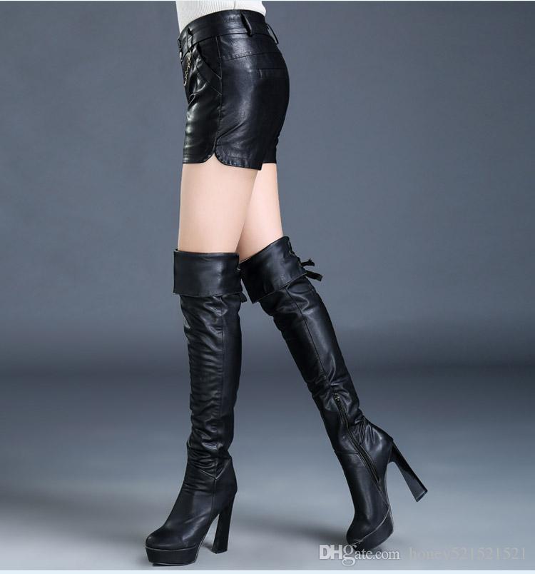 Novo design de moda das mulheres de cintura alta de couro PU plus size tamanho grande 4XL5XL6XL7XL boot cut shorts shorts túnica bodycon