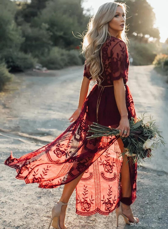 445b98fad965 Großhandel 2018 Neue Frauen Hipster Sommer Sheer Sexy Schlitz Blumenspitze  Gestickte Crochet Strand Vertuschen Kleider Hippie Vestidos Durchsichtig ...