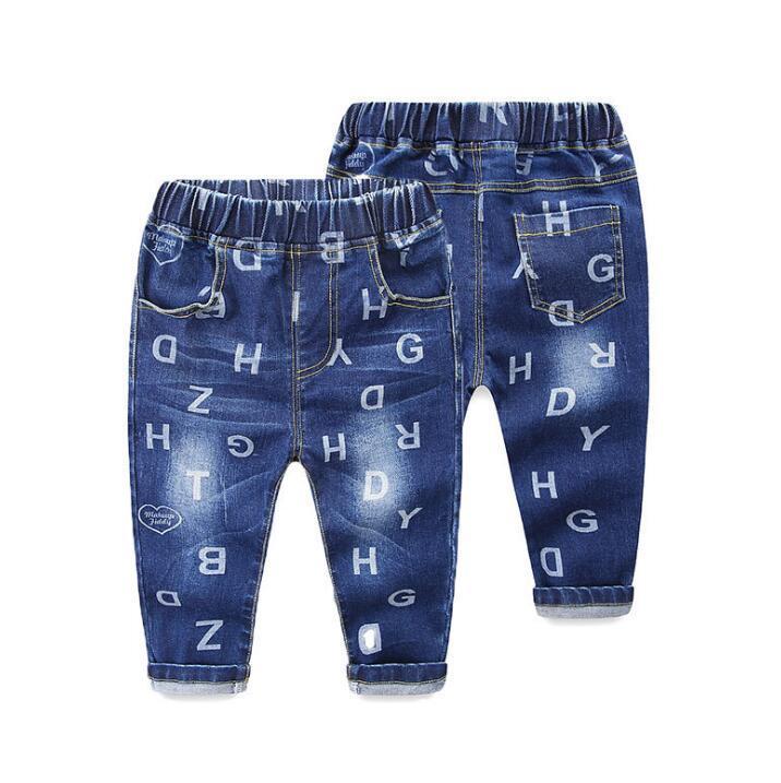 afba842df Compre 2018 Novas Meninos Meninas Calça Jeans Azul Crianças Elásticas Calças  Bebê Menino Menina Calças De Algodão Outono Roupas De Primavera Para 1 2 3  4 5 ...
