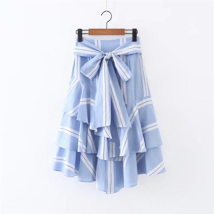 8354f589c 2018 Summer Women New Stripe Color Bow Trim Side Zipper Side ...