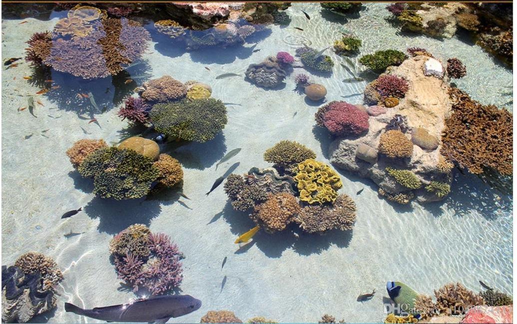 Großhandels-Kundenspezifisches Foto-Boden-Tapete-korallenroter tropischer Fisch-Ozean 3D Boden-Anstrich PVC-selbstklebender Fußboden-Wandgemälde Tapetendekor Anstrich