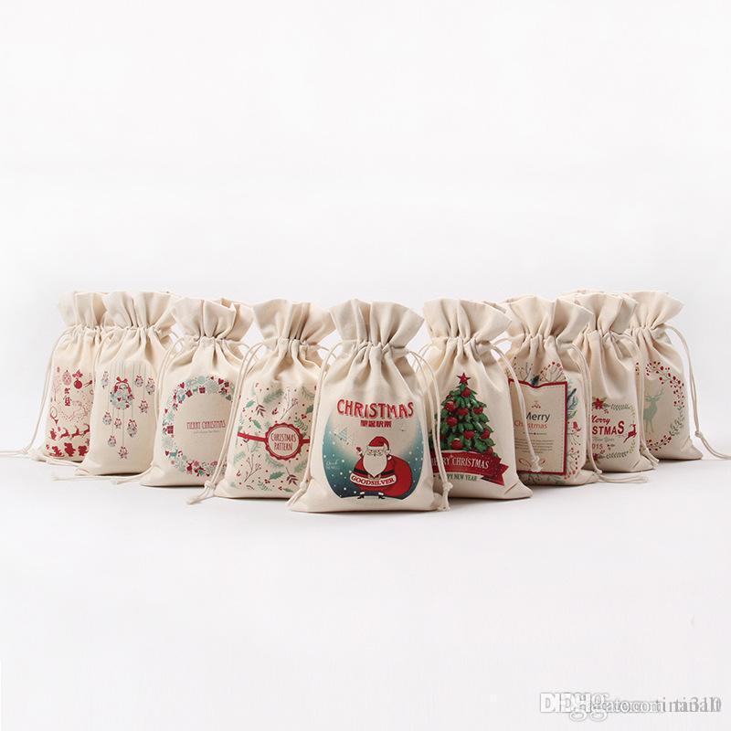 Großhandel Weihnachtsgeschenk Süßigkeitstaschen Leinwand Santa Sack ...