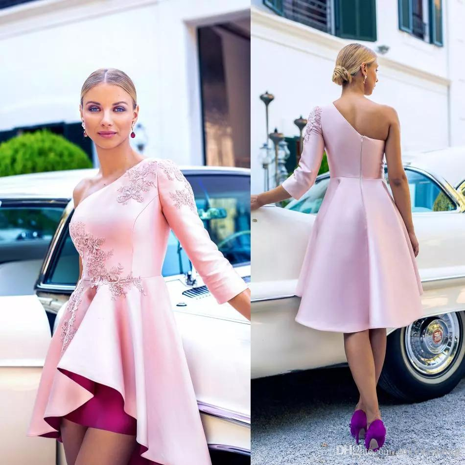 cba37f9fd7 New Pink Homecoming Dresses High Low Satin Long Sleeve Short Cocktail Dress  Party Wear One Shoulder Plus Size Arabic Prom Dress Custom Made White  Homecoming ...