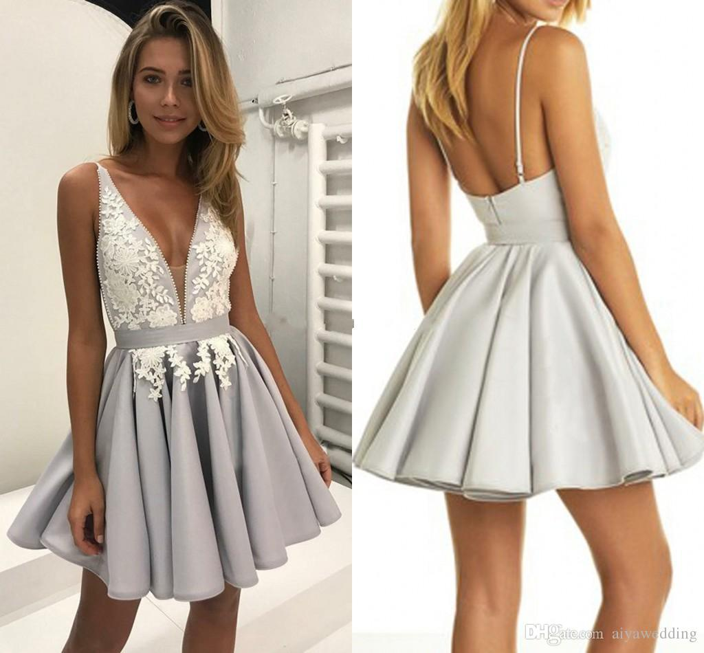 b7d6a2515dae7 Sexy Satin Short Homecoming Dresses V Neck Spaghetti Straps Ruched Appliques  Backless Mini Party Dresses Silver Petite Cocktail Gowns Edgy Homecoming ...