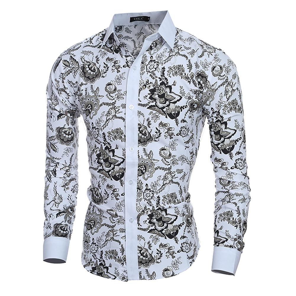 1112068c4ce4 2019 2018 Male Floral Print Dress Shirts Mens Shirt Slim Fit Men Shirt  Ethnic Flowers Long Sleeve Casual Shirts From Begonier