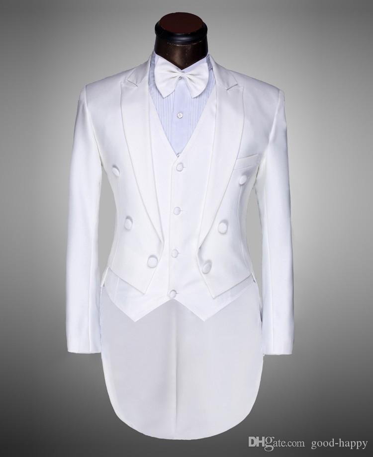 Customized Lapel Lapel Back Vent Negro / Blanco Tailcoat Men Party Groomsmen Trajes en Boda Tuxedos Chaqueta + Pantalones + Corbata + Chaleco NO; 311