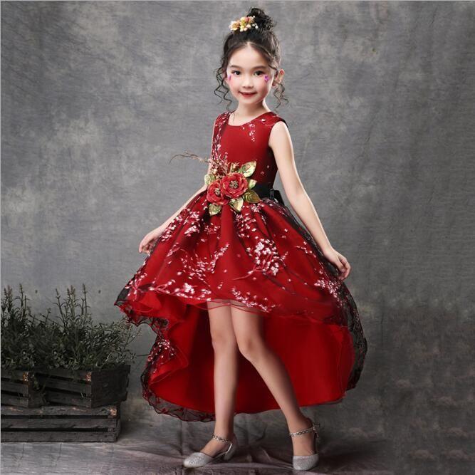 3ad6f17e5 Niños Vestidos de novia Flores hechas a mano Sash Tail Arrastre Princesa  Vestido de salmonetes Vestidos Chicas Moderno Traje para niños Traje rojo
