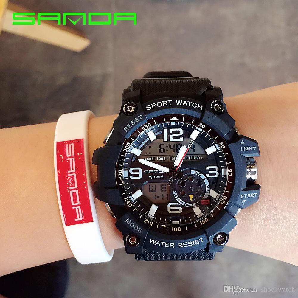 c3d149387b0 Compre SANDA 759 Relógio Militar Dos Homens À Prova D  Água Esporte Relógio  Para Mens Relógios Top Marca De Luxo Relógio De Mergulho Saat Relogio  Masculino ...