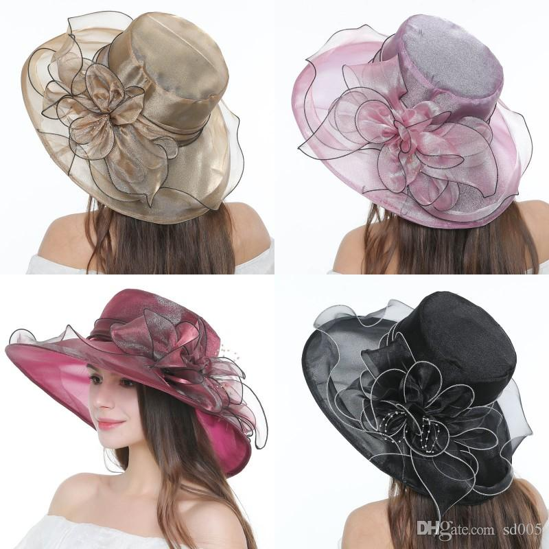 66aebdd0 Lady Retro Flower Sun Hat Spring And Summer Fashion Organza Net Yarn Female  Hats Sandy Beach Sunscreen Caps Colorful 17xz WW Scala Hats Wholesale Hats  From ...