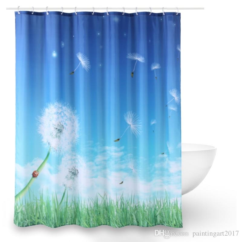 2018 Warm Tour Dandelion Wishes Shower Curtain Polyester Fabric Waterproof Mildew Resistant Bathroom 12hooks For Home Use From Paintingart2017