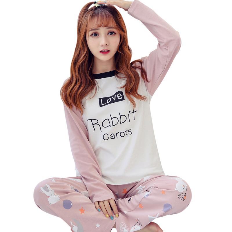 8157ab55f Compre Pijamas Das Mulheres Define 100% Algodão De Manga Longa Camisas E  Calças Animais Imprimir 2018 Pijama Set Sleepwear Mulheres Sexy Outono  Homewear De ...
