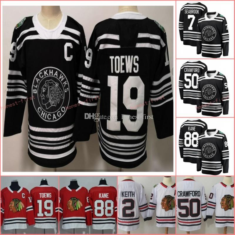 lowest price 75911 0339d 2019 Winter Classic Black Chicago Blackhawks 19 Jonathan Toews Jersey 88  Patrick Kane 50 Corey Crawford 12 Alex DeBrincat 7 Brent Seabrook