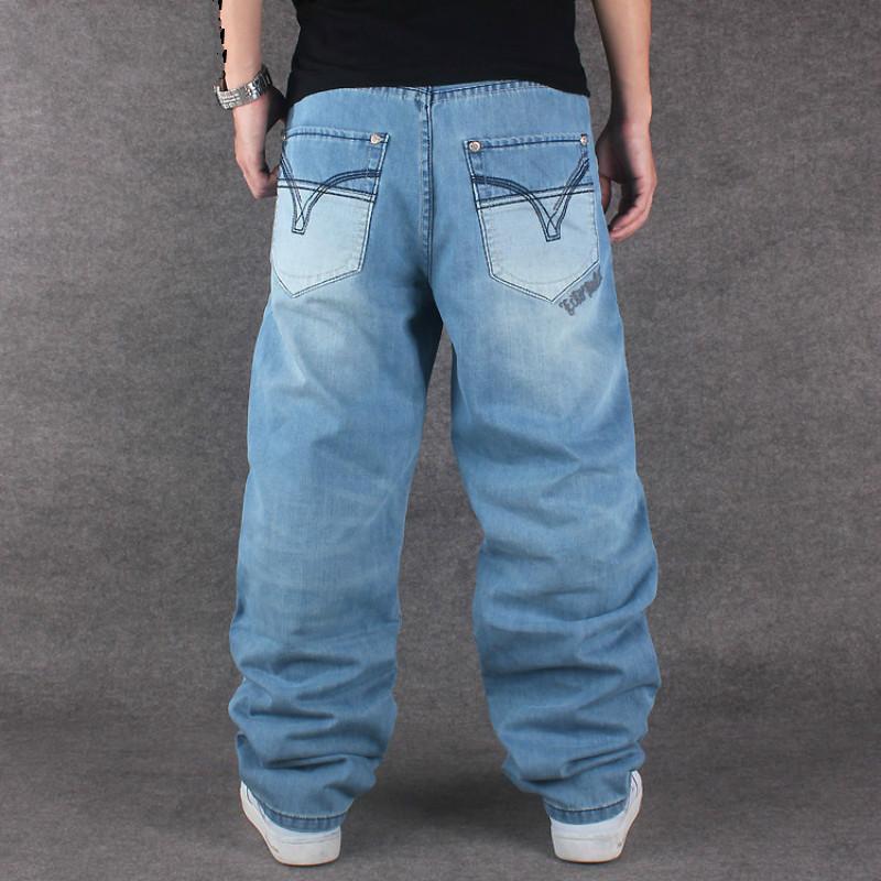0ac08189009 2018 Fashion Men Baggy Jeans Denim Hiphop Pants Skateboard High ...