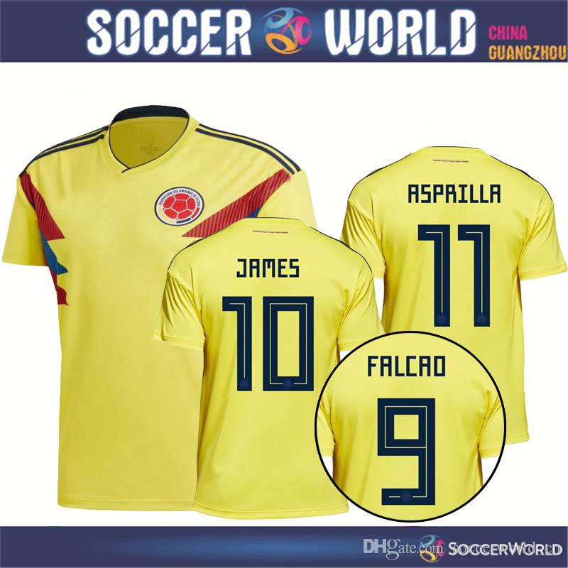 2018 World Cup Colombia Soccer Jersey Colombia Home Soccer Shirt JAMES  CUADRADO FALCAO AGUILAR Football Uniform Sales Size S 3XL UK 2019 From  Soccerworld cn ... 53deb6b5b