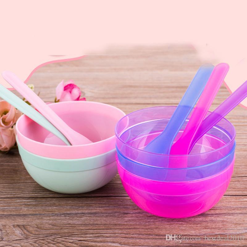 2 in 1 Makeup Beauty DIY Facial Face Mask Bowl Spoon Stirring rod Stick Tool Kit DIY Mask Tool Set Masks & Peels Homemade
