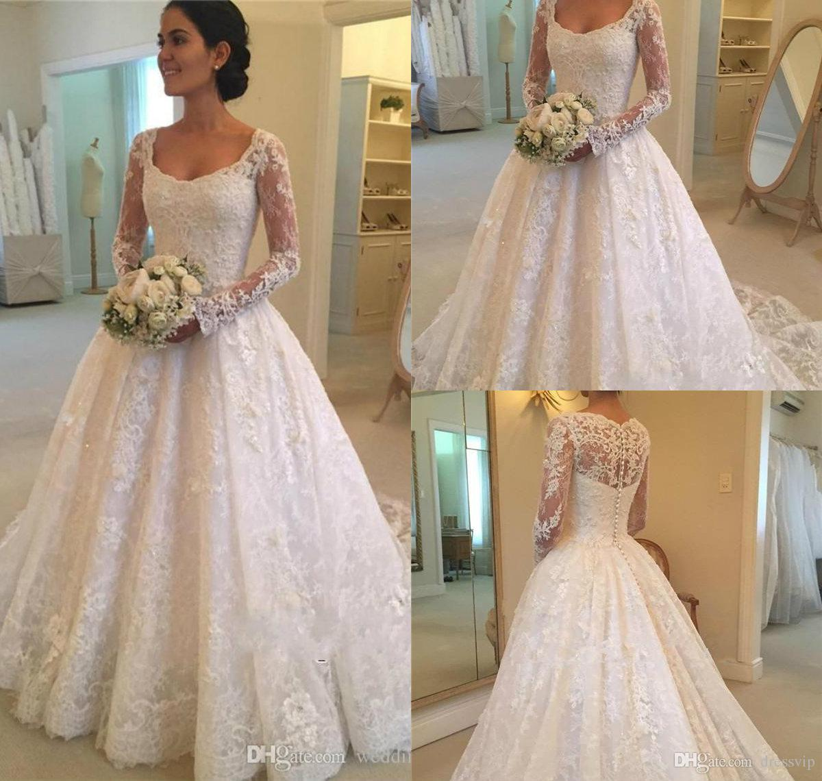 5feb088e6e12 Discount 2018 A Line Long Sleeve Wedding Dresses Scoop Neck Lace Appliques  Button Back Beaded Country Bridal Wedding Gowns Custom Made Women Dress  Slim A ...