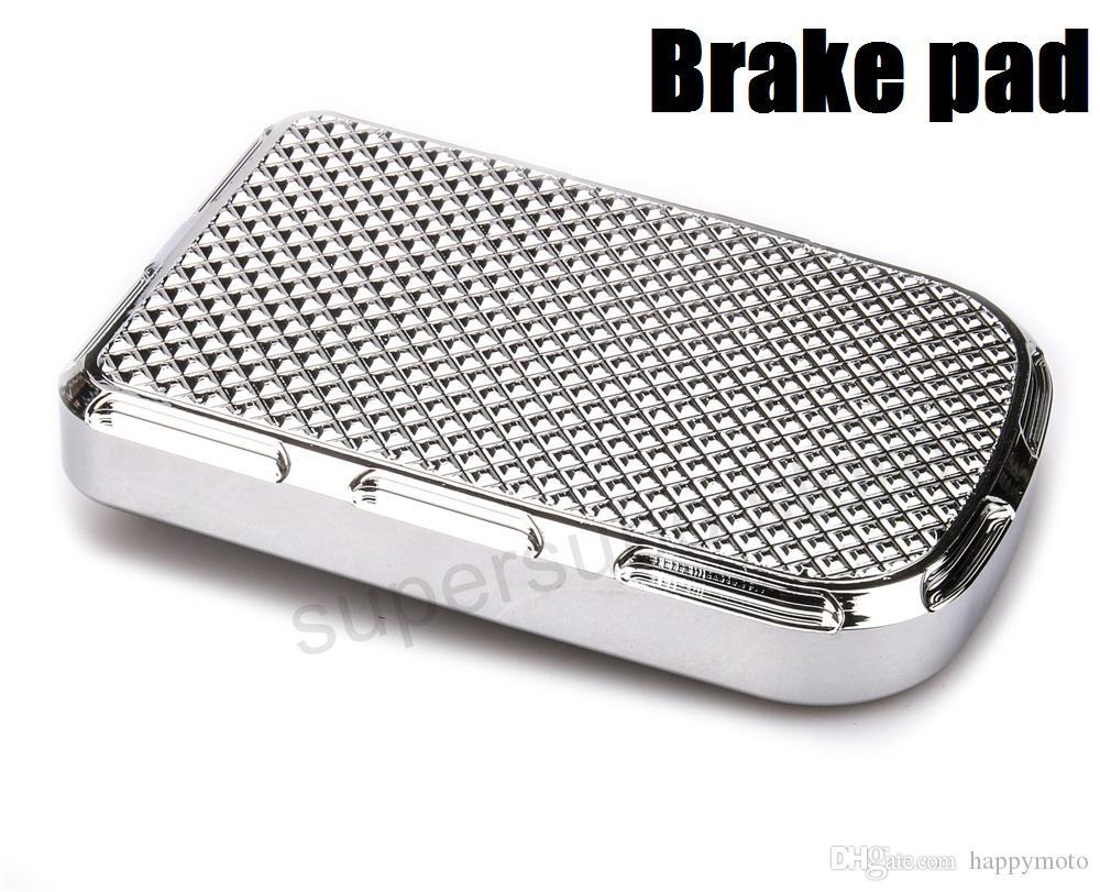 Chrome CNC Beveled Brake Pedal Pad Cover harley softail brake pedal cover dyna street bob brake pads cover