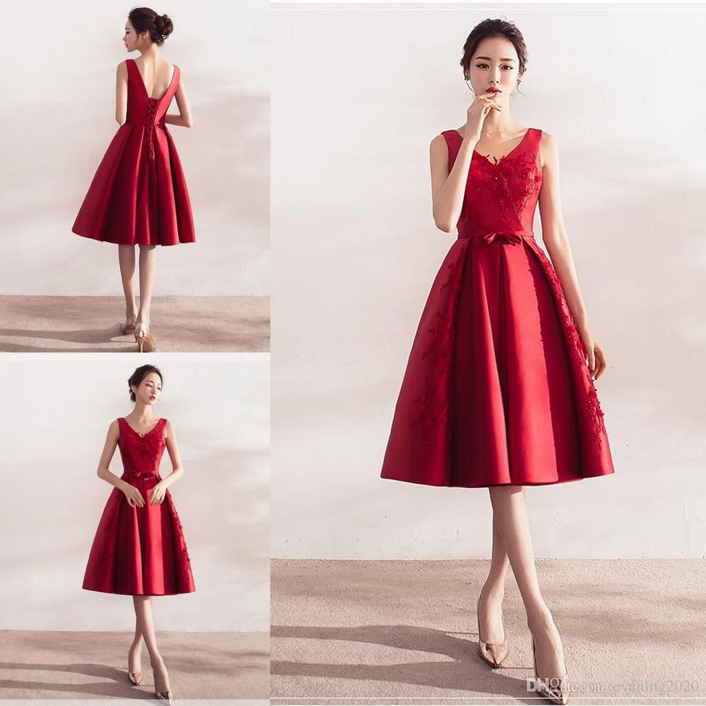 460cf454d41 Newest Red Bandage Elegant Homecoming Dresses V Neck Applique A Line Knee  Length Lace Up Lace Dresses Party Dresses Lace Dresses For Juniors Lace  Formal ...