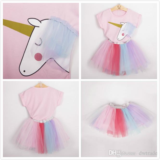 9b6df4d3 Summer Girl's Unicorn Printed Pink Suits Short Sleeve T-shirt + Colorful  Yarn Tutu Skirt Suit Girls Princess Suits Kids Suits 5 sizes a lot