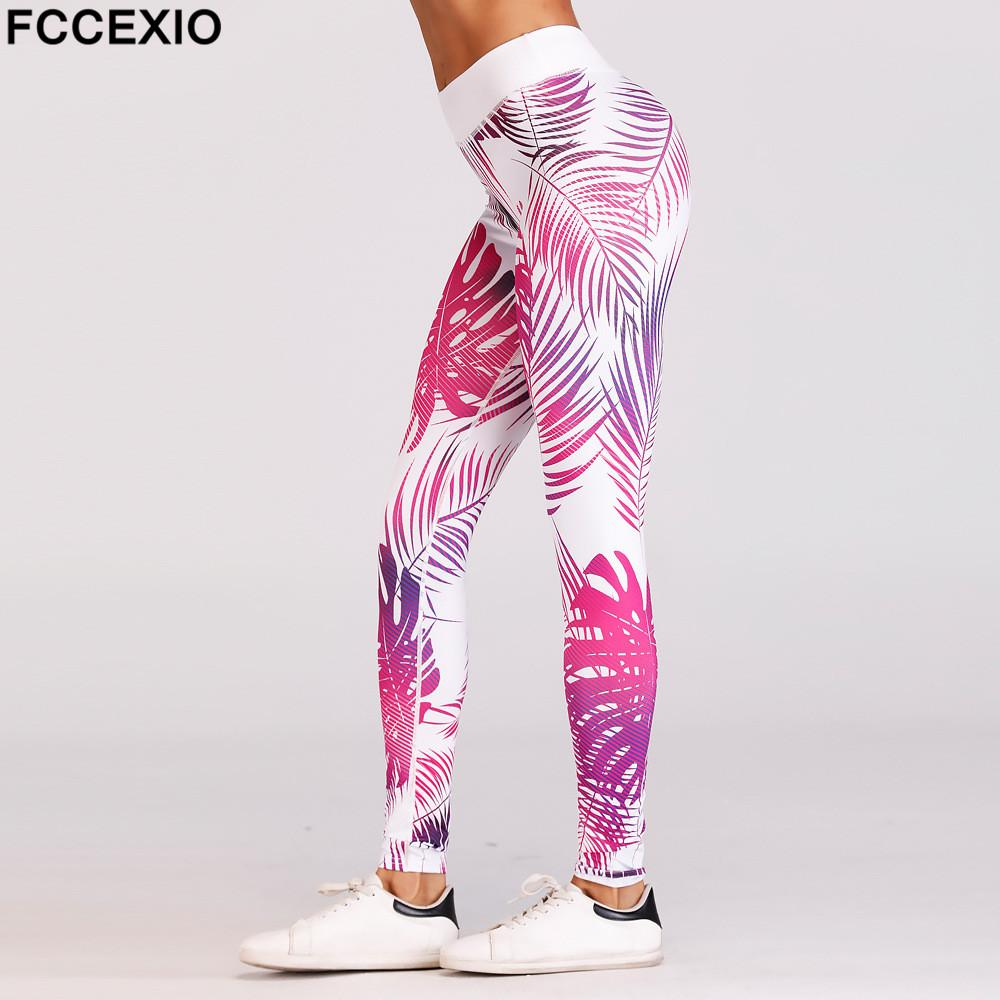 34082e18642296 2019 FCCEXIO New Women High Waist Floral Print Leggings Fitness Quick Dry  Workout Pants Slim Knitted Elastic Sporting Leggings From Cailey, $26.6 |  DHgate.