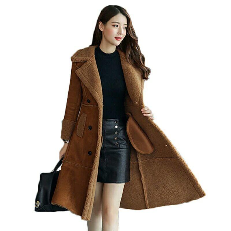 8cf5d274e0c3 Großhandel Lange Faux Schaffell Mantel 2018 Winter Mode Frauen Leder  Wildleder Jacke Kleidung Warme Damen Faux Schaffell Lamm Frauen Wollmantel  D18110103 ...