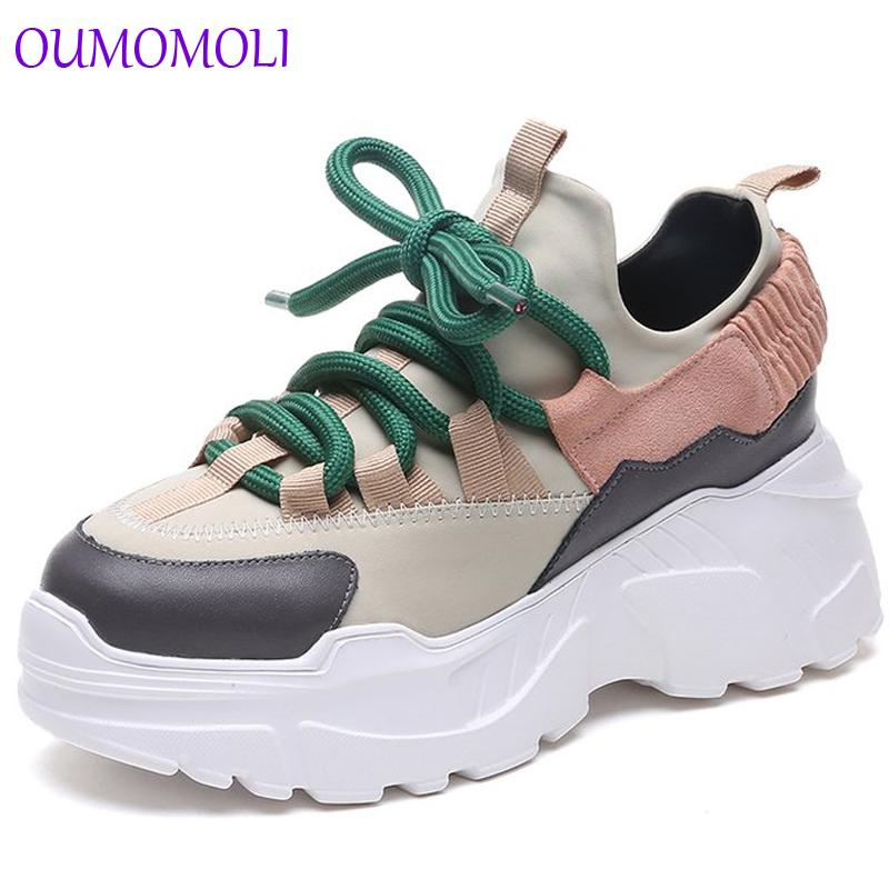 size 40 89254 49de6 scarpe donna 2019 inverno autunno new platform sneakers tenis feminino  sneakers casual donna lace-up tacco 8 cm