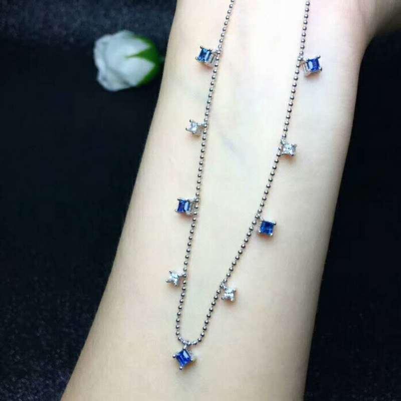 invaincu x haute couture faire les courses pour Fidelity Naturel 3mm Sri Lanka Saphir Colliers S925 en argent sterling  bijoux simple simple pour les femmes parti pierre bleue naturelle