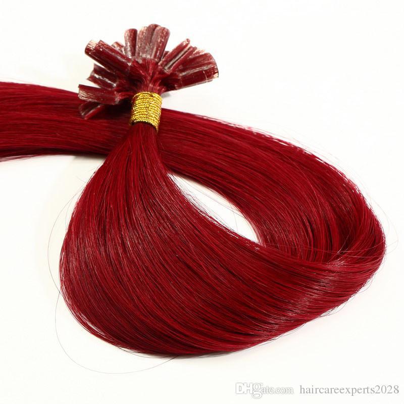 ELIBESS HAIR Extensions de pointe de kératine U 14 '' - 26 '' 0.8g / pcs 200s / Remy cheveux brésiliens fusion chaude fusion à froid