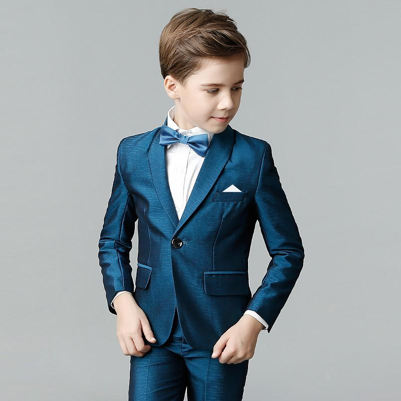 Boys Suits Performance Solid Gentleman Style Formal Suits For 2
