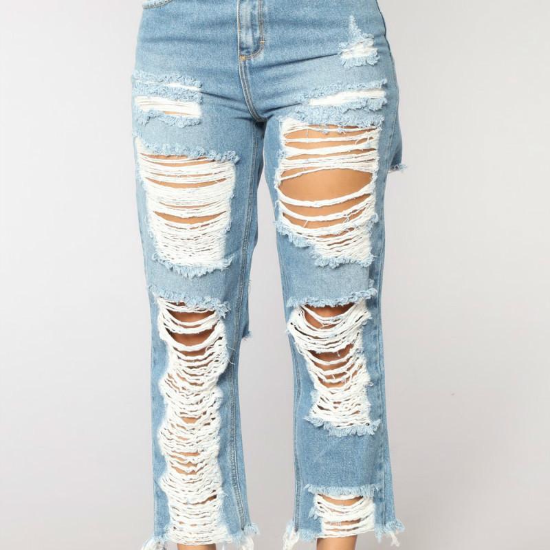 d452da95da Denim Pants Big Hole Ripped Jeans Women Harem Loose Ankle-Length ...