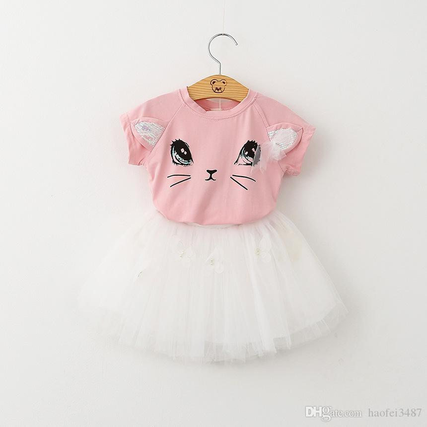 Girl Dress 2018 New Summer Bubble Skirt Tutu Dress Casual Style Cartoon Kitten Printed T-Shirts+Net Veil Dress for Girls Clothes 2-6Y