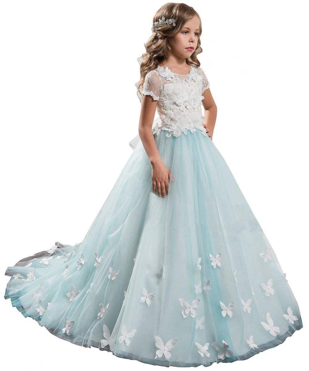 72b33ae4c961 Elegant Lace Applique Floor Length Flower Girl Dress Wedding ...