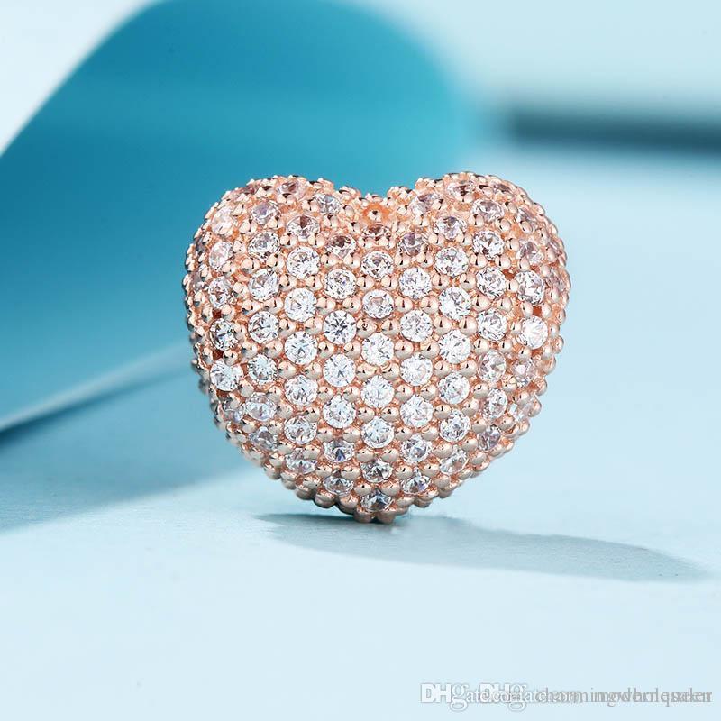 1b88cb66c2a2 Compre 5 Piezas   Lote Clips De Corazón De Rose Auténticos Ajustes Pandora  Estilo Pulseras Pave Open My Heart 781427CZ H9 A  58.72 Del  Charmingwholesaler ...