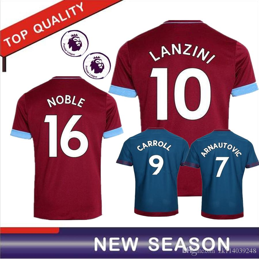 the latest a2089 84d78 New 1819 West Ham United home away soccer jerseys FEGHOULI CARROLL SAKHO  AYEW 2018 2019 Top Thai quality West Ham United football shirts