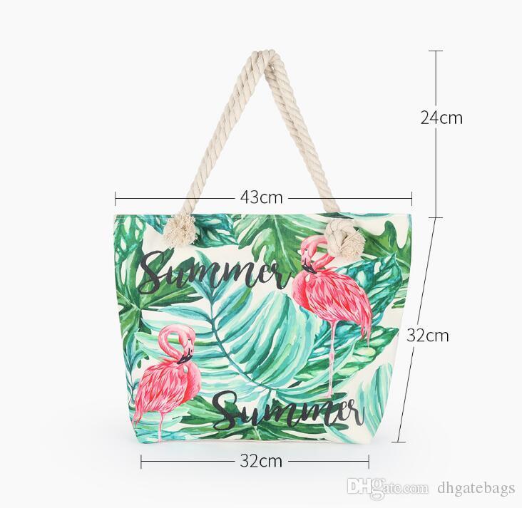 Leinwand flamingo make-up tasche Kreative Cartoon handtaschen frauen outdoor reise camping lagerung sack sommer strandtasche baumwolle seil kosmetiktaschen