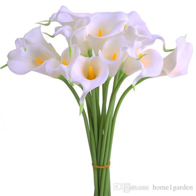 Ev Düğün Dekor için 32cm Uzunluk Mini Calla Lily Gelin Buketi Yapay Çiçek 10 Renk